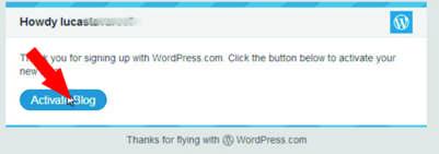 Passo 2 - Ativando a Conta no WordPress