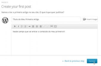 Passo 8 - Escrevendo seu primeiro Post