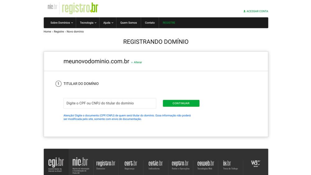 Informe o CPF para registro do domínio