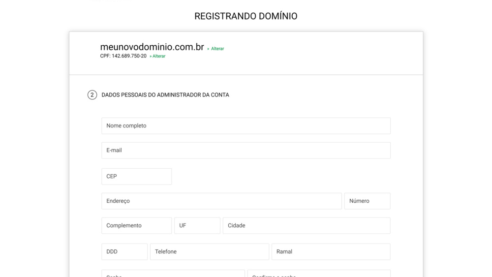 Preencha as informações para registro do domínio