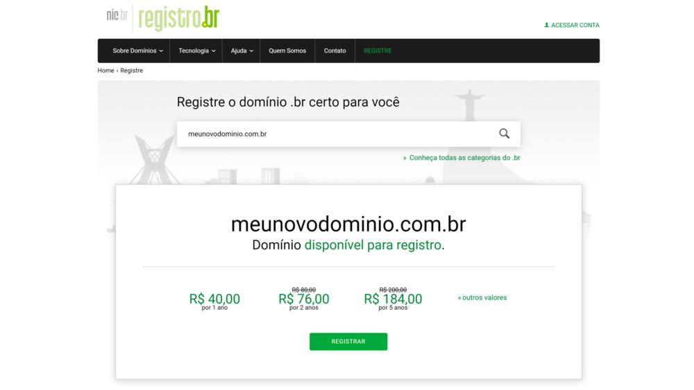 Registre o domínio na Registro.br